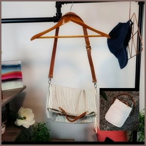 HANDMADE CONVERTIBLE STRIPED TICKING TOTE